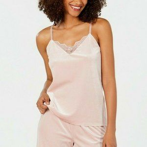 NWT! INC Lace Trimmed Velvet Camisole Pajama Top